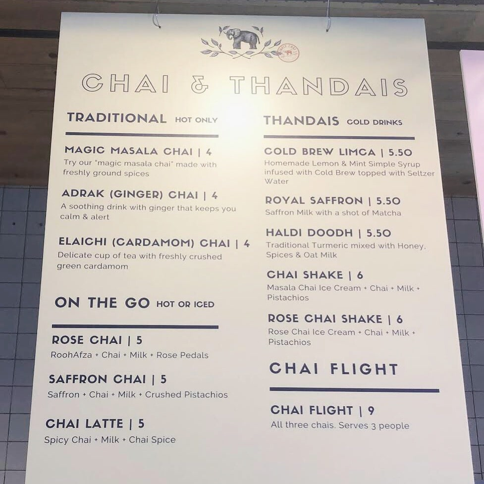 simply chai menu